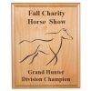 Custom engraved alder wood plaque with text and the horse design 2 of your choice.