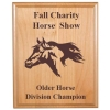 Custom engraved alder wood plaque with text and the horse design 3 of your choice.