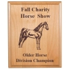 Custom engraved alder wood plaque with text and the horse design 4 of your choice.