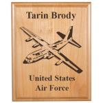 Personalized alder wood plaque with custom engraved military aircraft design and text.