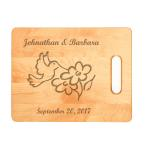 Personalized maple cutting board with custom engraved bird design 2.