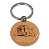 Personalized engraved wood key chain with custom engraved text and bulldog design.