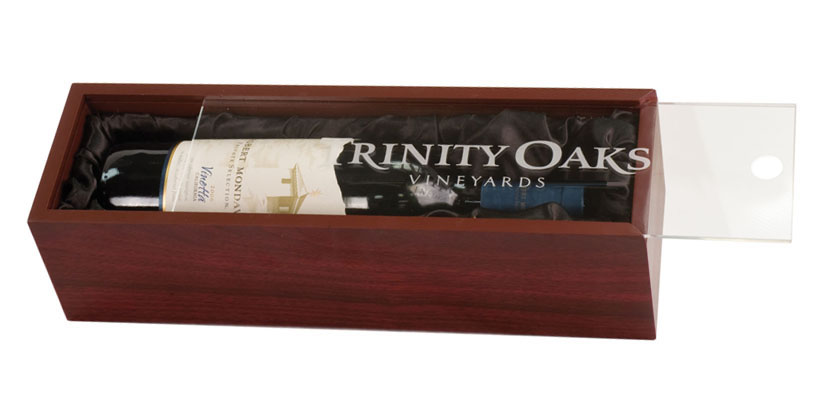 Rosewood finish wine gift box with engraved clear acrylic lid that slides open and closed.