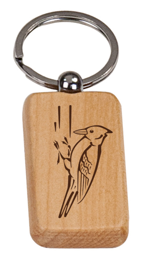 Personalized engraved bird design wood key chain with custom engraved text and bird design of your choice.