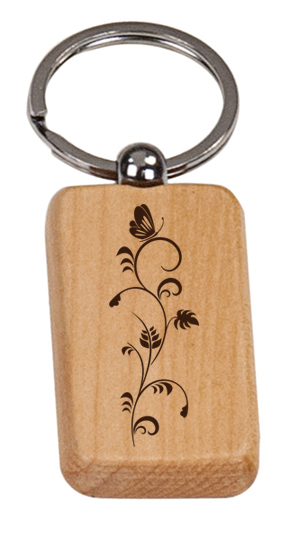 Personalized engraved wood key chain with custom engraved text and butterfly design of your choice.