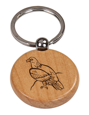 Custom engraved eagle design wood key chain with personalized text.