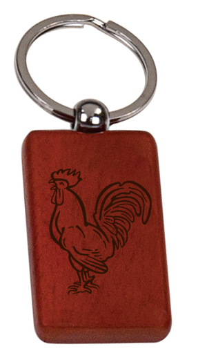 Personalized engraved wood key chain with custom engraved text and farm animal design of your choice.