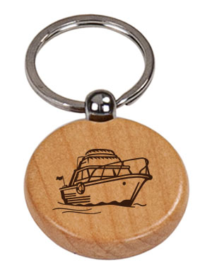 Personalized engraved boat design wood key chain with custom engraved text and boat design of your choice.